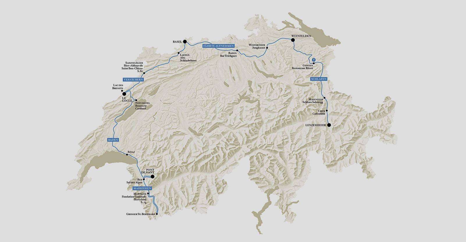 Karte Hunderoute Transhelvetica