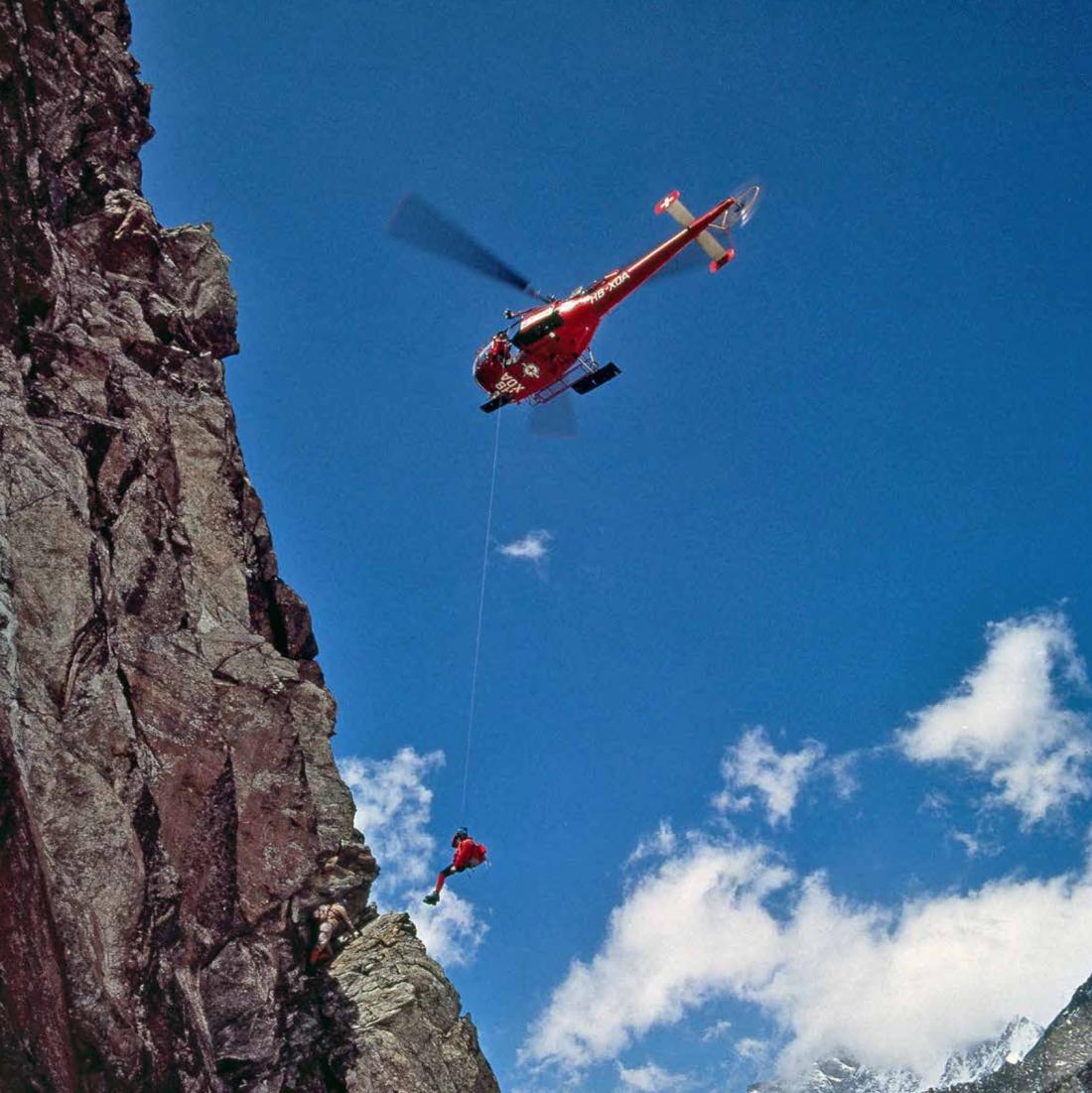 Übung einer Direktrettungen an gefährlichen Berghängen wie der Eigernordwand