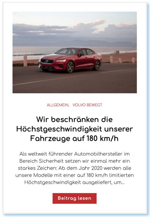 Wir beschränken die Höchstgeschwindigkeit unserer Fahrzeuge auf 180 km/h