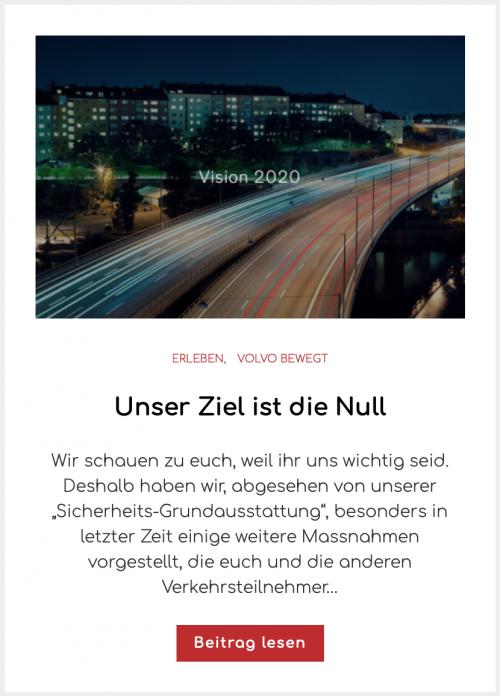 Volvo Cars Sicherheit Vision 2020