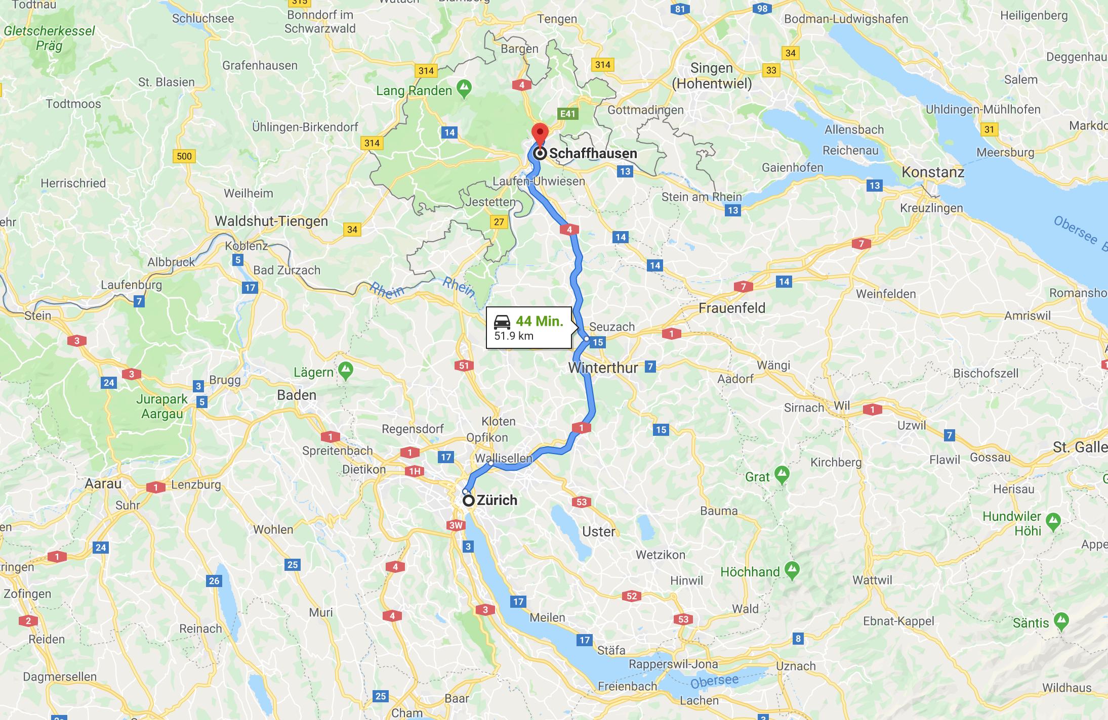 Im Volvo V90 T8 Twin Enginge von Zürich nach Schaffhause