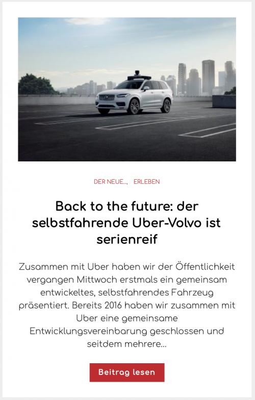 Back to the future: der selbstfahrende Uber-Volvo ist serienreif