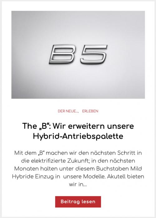 """The """"B"""": Wir erweitern unsere Hybrid-Antriebspalette"""