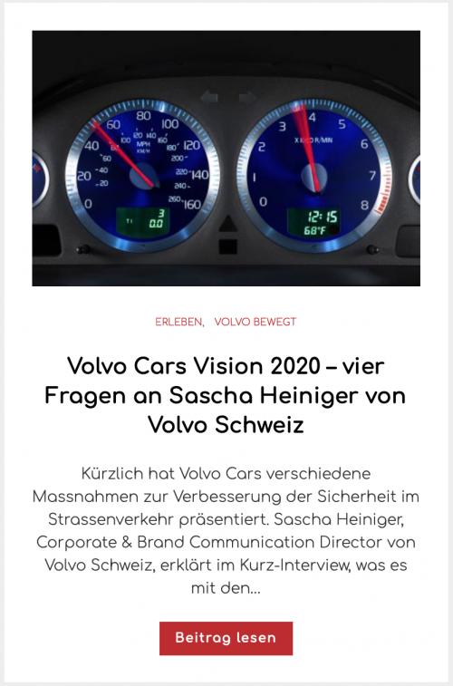 Volvo Cars Vision 2020 – vier Fragen an Sascha Heiniger von Volvo Schweiz