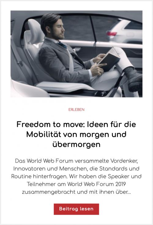 Freedom to move: Ideen für die Mobilität von morgen und übermorgen