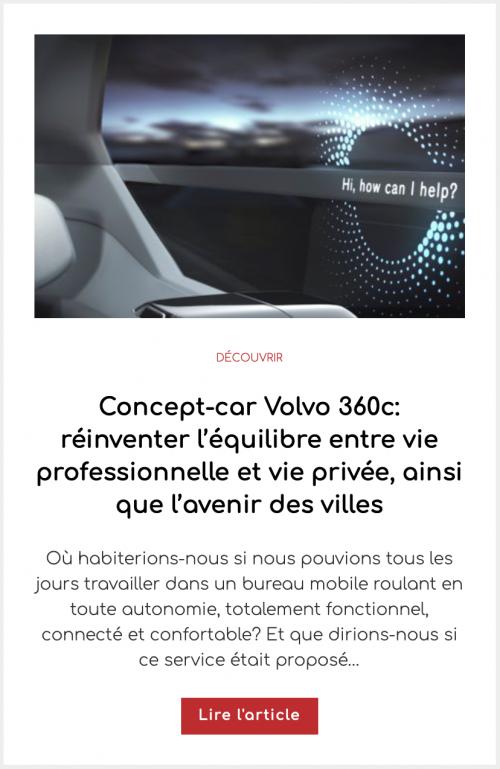 Concept-car Volvo 360c: réinventer l'équilibre entre vie professionnelle et vie privée, ainsi que l'avenir des villes
