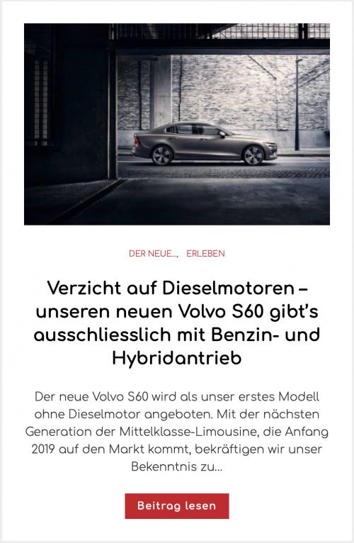Verzicht auf Dieselmotoren – unseren neuen Volvo S60 gibt's ausschliesslich mit Benzin- und Hybridantrieb