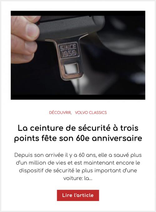 La ceinture de sécurité à trois points fête son 60e anniversaire