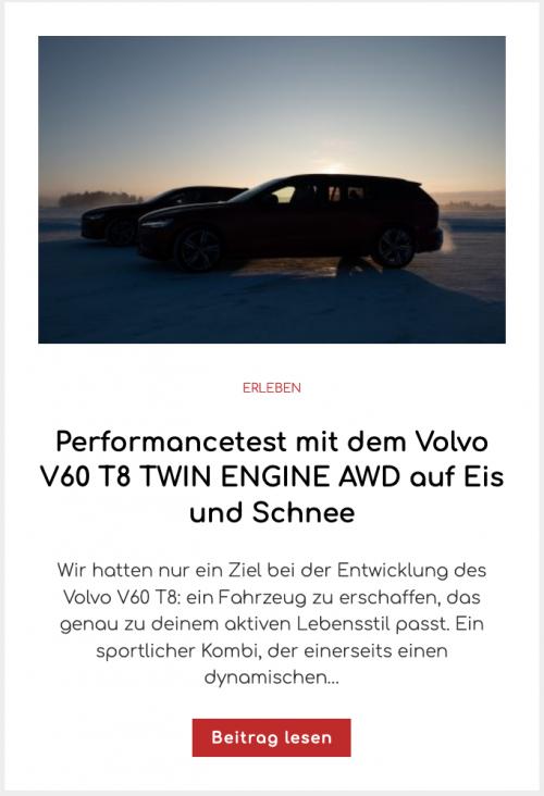 Performancetest mit dem Volvo V60 T8 TWIN ENGINE AWD auf Eis und Schnee
