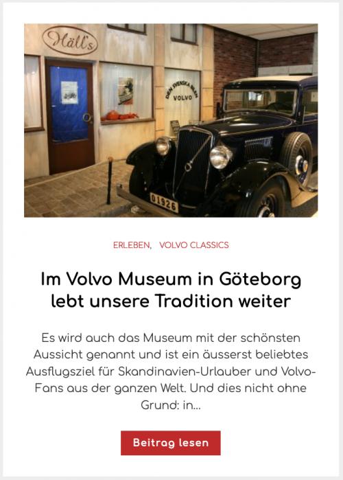 Im Volvo Museum in Göteborg lebt unsere Tradition weiter