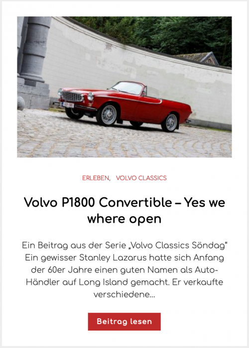 Volvo P1800 Convertible – Yes we where open