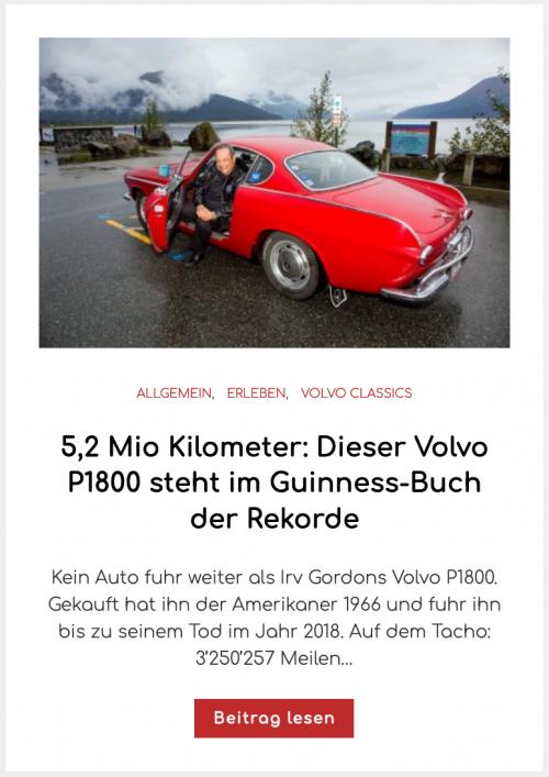 5,2 Mio Kilometer: Dieser Volvo P1800 steht im Guinness-Buch der Rekorde