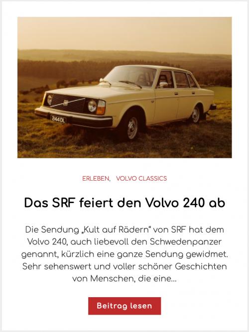 Das SRF feiert den Volvo 240 ab