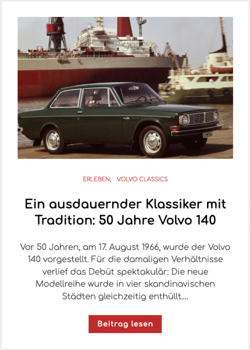 Ein ausdauernder Klassiker mit Tradition: 50 Jahre Volvo 140