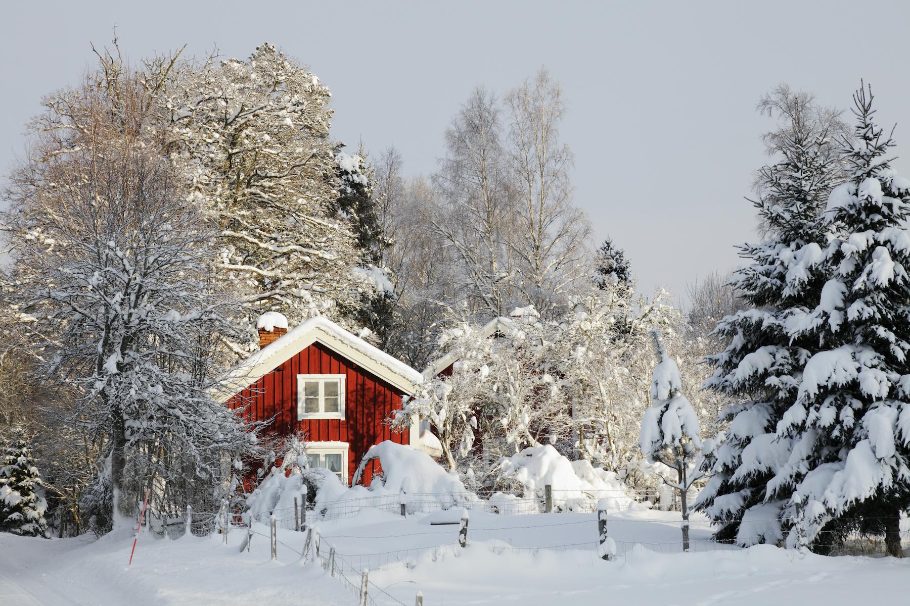 Schweden Rote Häuser Volvo
