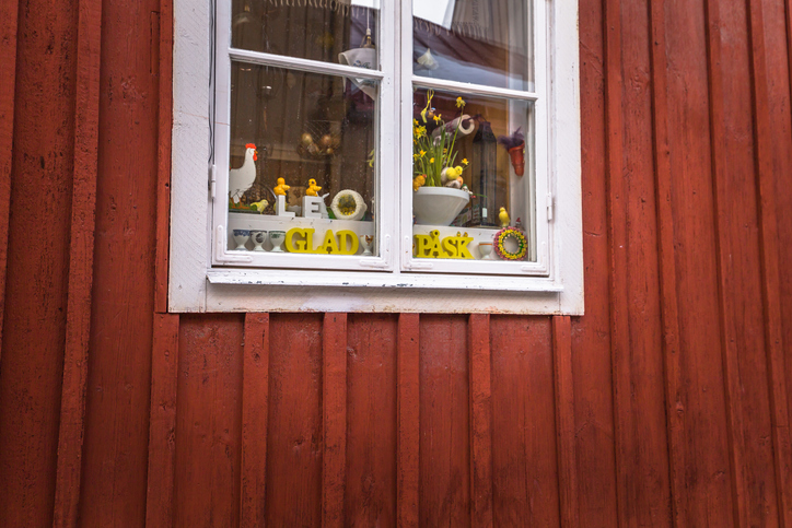 Signs of happy easter at the historic center of the town of Gavle, Sweden