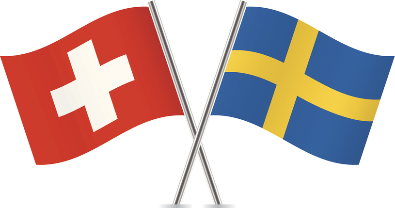 Swiss and Swedish flags. Vector.