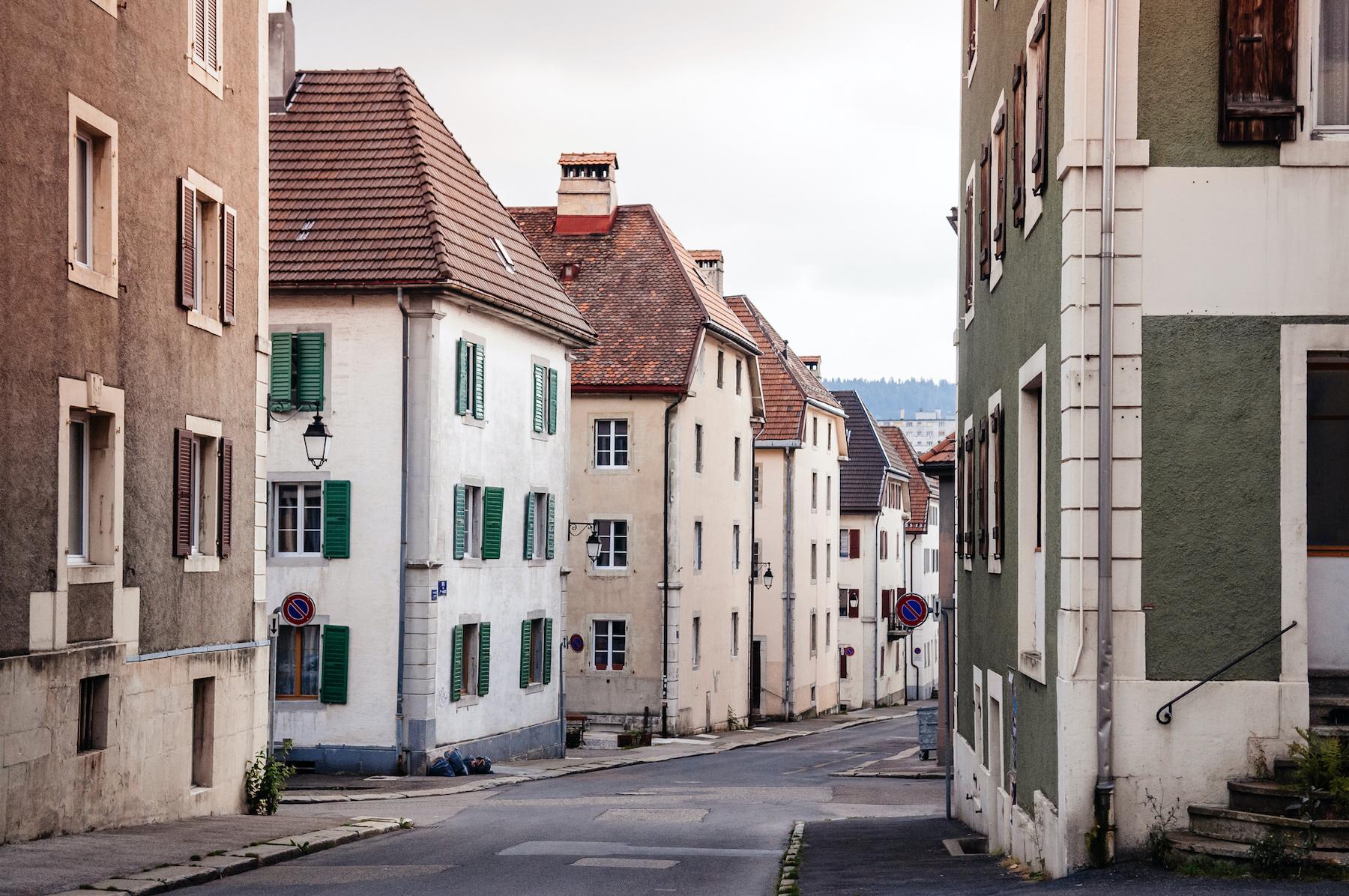 Old vintage building and street in La Chaux de Fonds