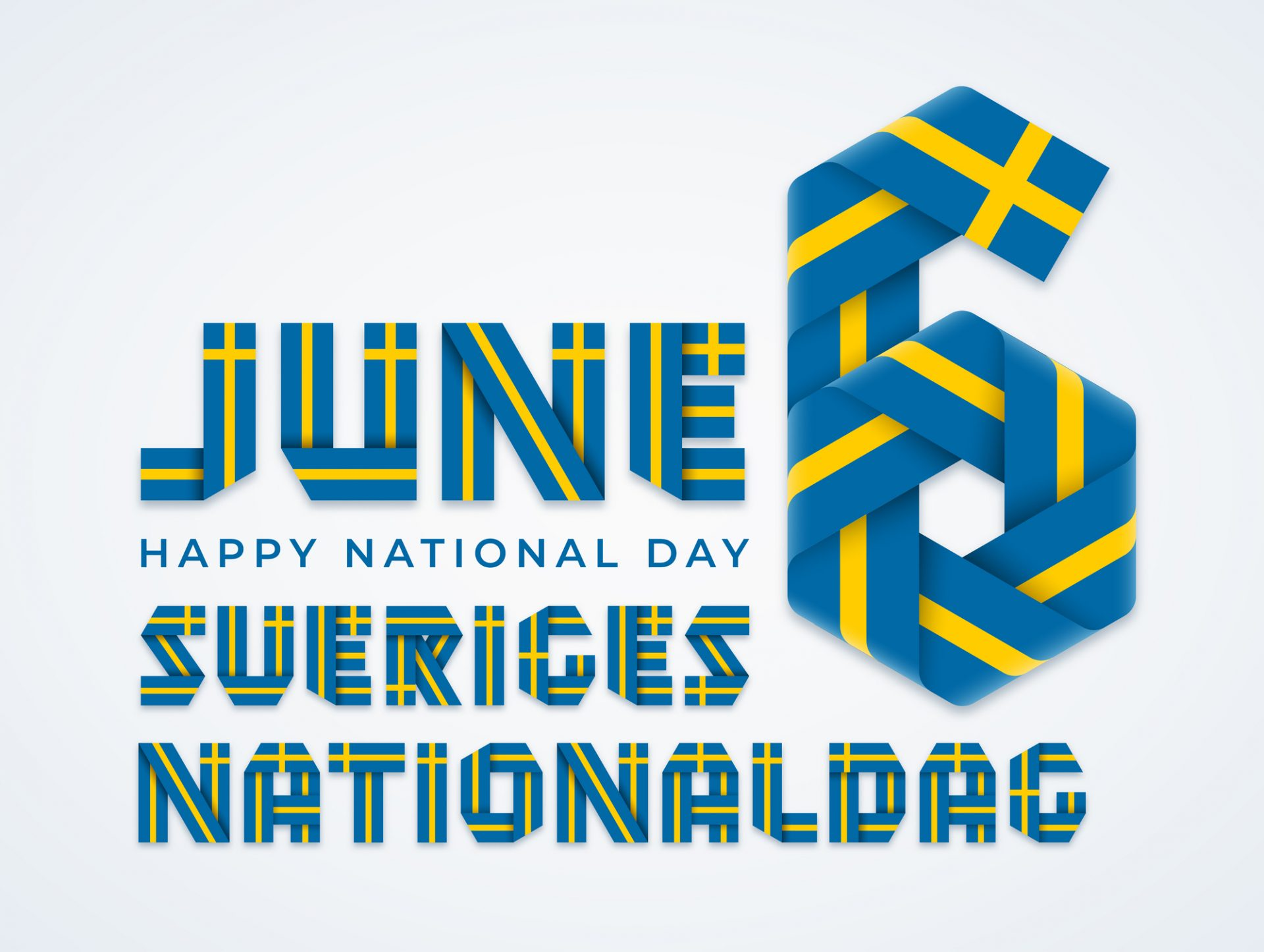 June 6, Sweden National Day congratulatory design with Swedish flag colors. Vector illustration.