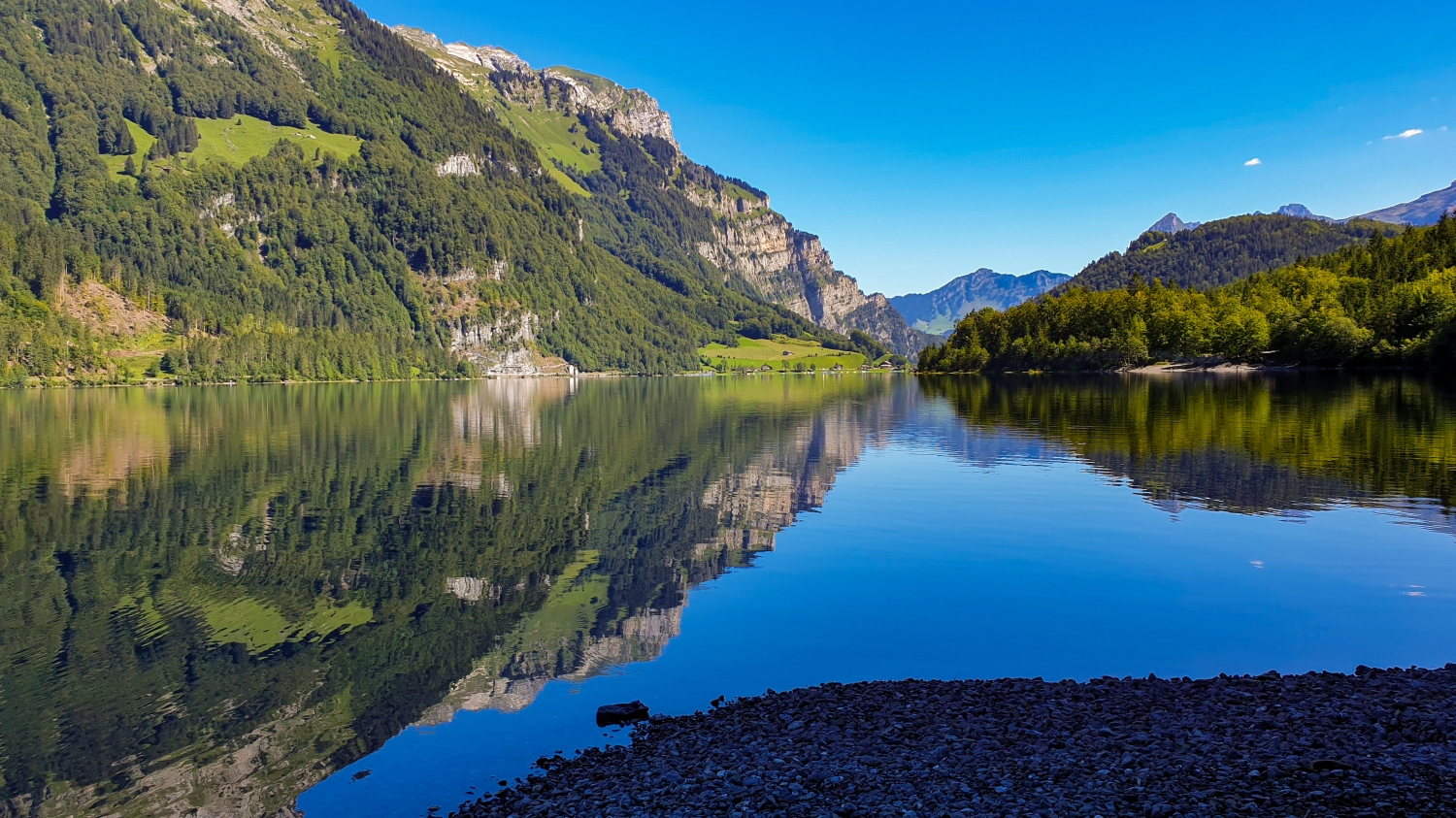 Southern bank of the Klöntalersee Lake, in Glarus, Switzerland
