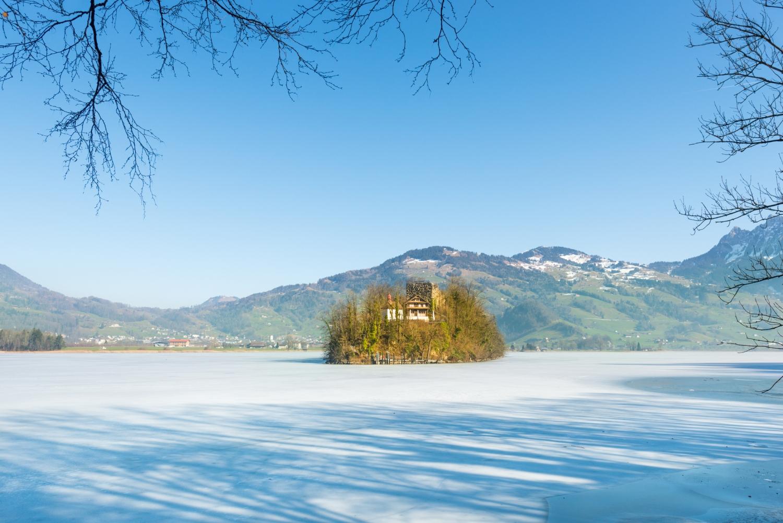 Schwanau Castle Ruins is an island in Lake Lauerz