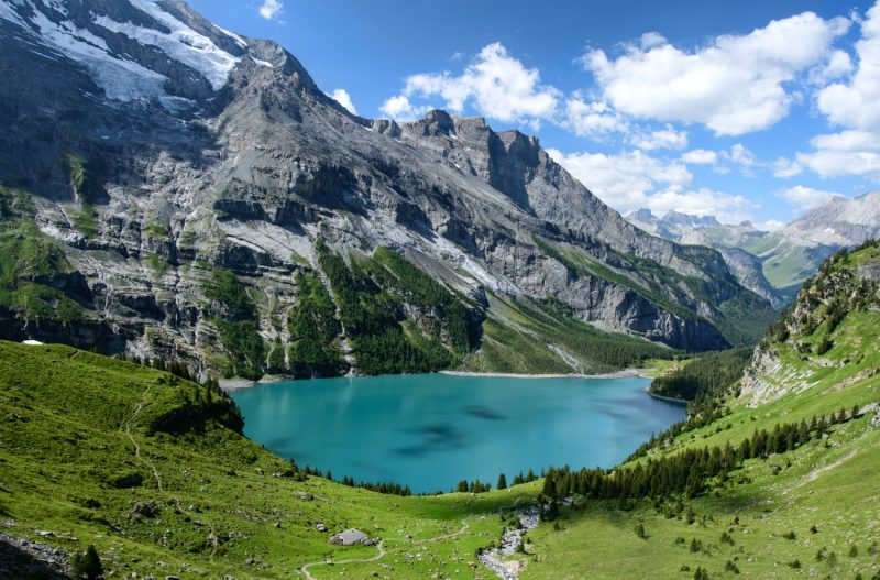 Lake Oeschinen Switzerland-July 2017