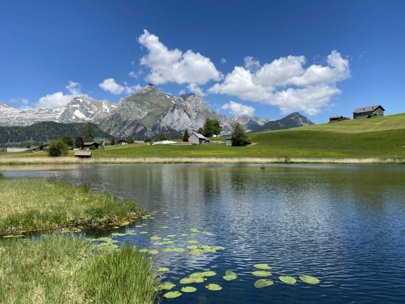 The main lake Schwendisee (Vorder Schwendisee) in the Obertoggenburg region, Wildhaus – Canton of St. Gallen, Switzerland (Kanton St. Gallen, Schweiz)