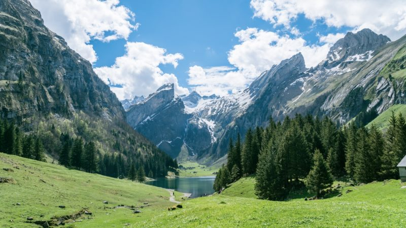Seealpsee lake with the Swiss Alps, Appenzeller Land, Switzerland