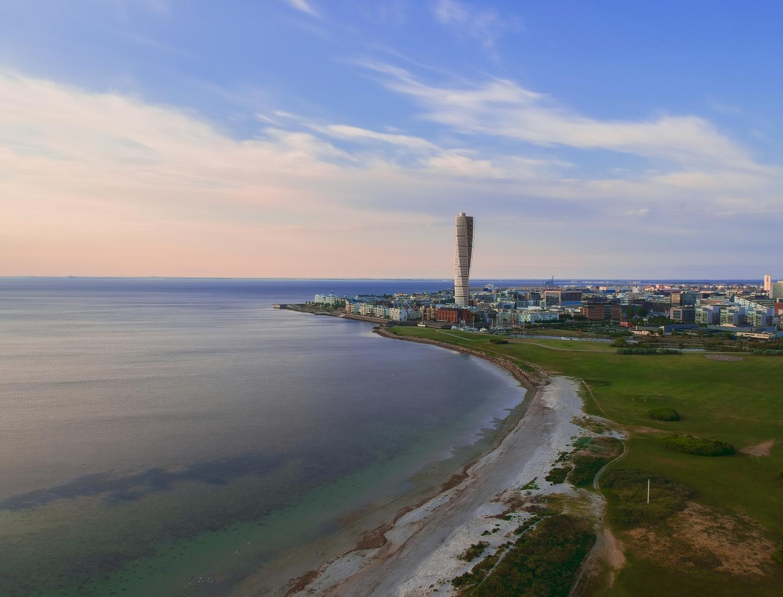 Sweden Malmö Turning torso ribersborg beach drone